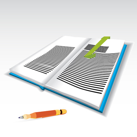 blue book: a vector illustration of a three dimensional blue book, with turning pages, some typing on it, bookmark and shade under. Orange pen included