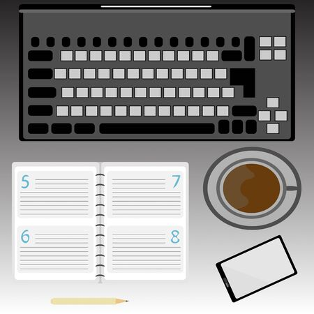 used items: a vector illustration of every day used items such as a laptop, notebook, pencil, mobile phone and a cup of coffee