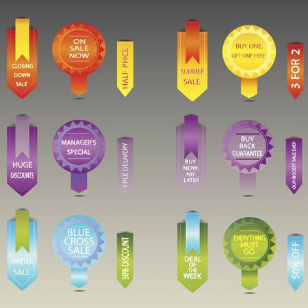 informational: a vector illustration of different discount, sale and informational stickers