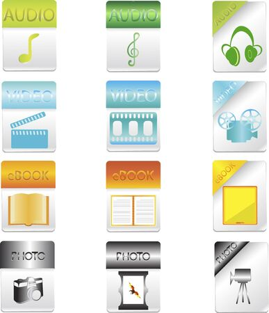 used items: a vector illustrations of a variety of web and everyday used items icons on a blank background Illustration