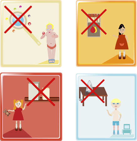 misfortune: a vector illustration of four child safety icons