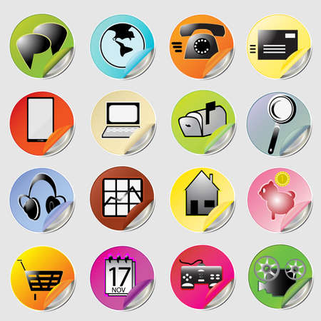 used items: a vector illustration of everyday used items buttons Illustration
