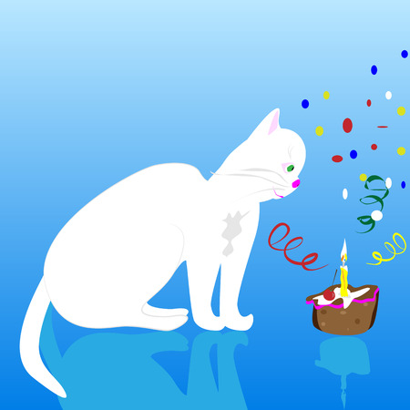 whelps: a vector illustration of a white birthday cat, sitting by the birthday cake with candle and ribbons