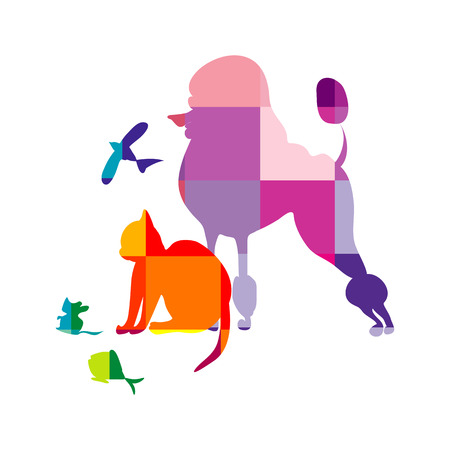 multy: a schematical, multy-colored vector illustration of a dog, a cat, a mouse, a bird and a fish