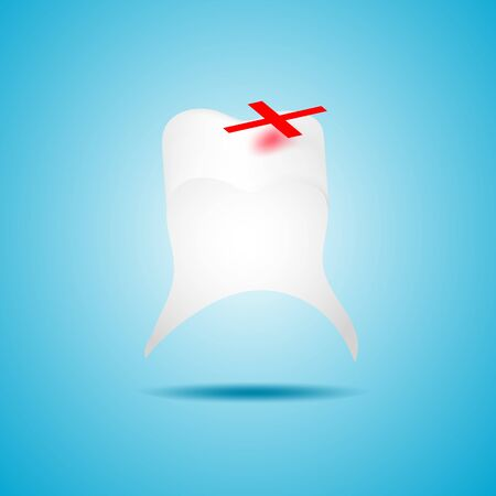 sore: a vector illustration of a sore tooth and a red plaster on top of a problem area on a blue background
