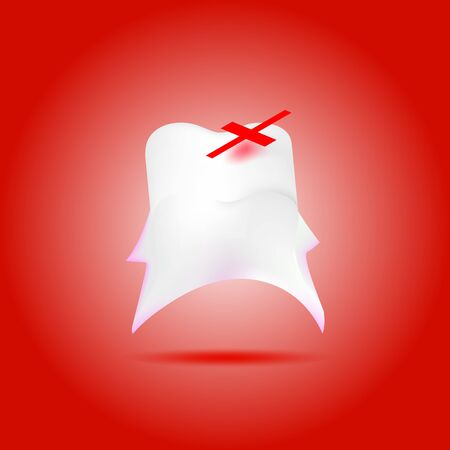 sore: a vector illustration of a sore molar tooth with a plaster on the top of bad area, all on a red background