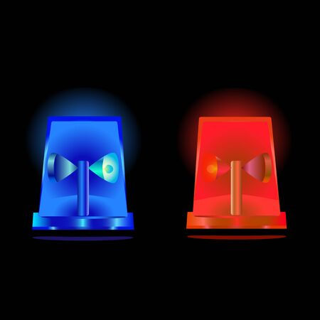 sirens: a vector illustration of red and blue flashing sirens in the night
