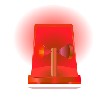red siren: an isolated vector illustration of a red flashing siren Illustration