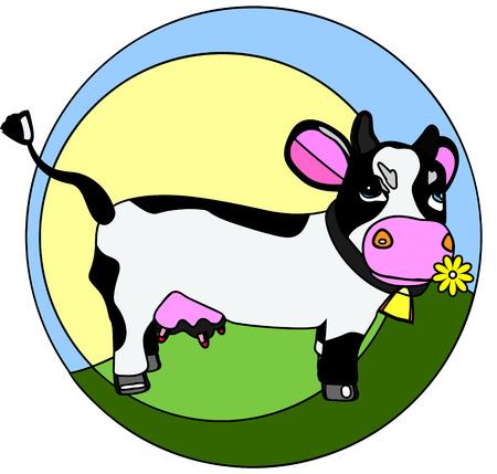 カラフルなロゴの背後にある田舎に、花を咀嚼、変な牛とのベクトル イラスト