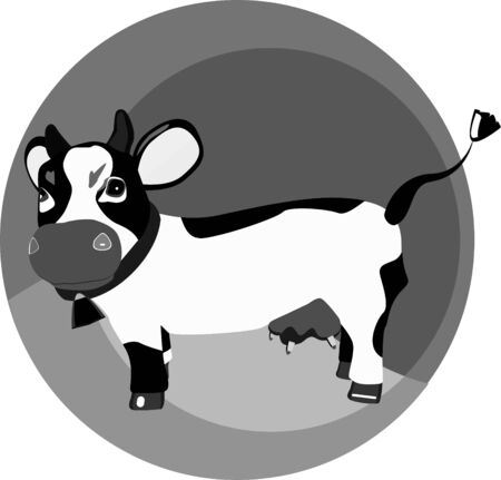 cow bells: a vector illustration of a monochrome funny cow on the grass