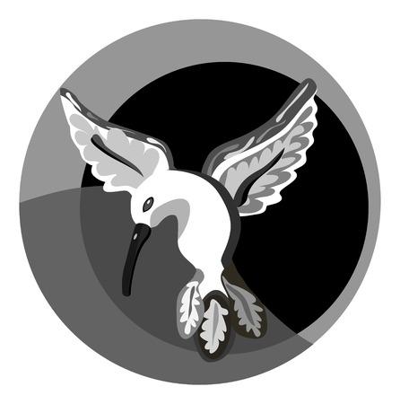 humming: a vector illustration of a monochrome humming bird in flight