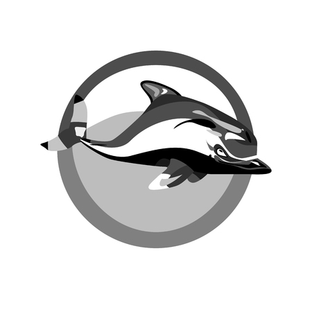 trait: a vector illustration of a marine monochrome logo of a swimming dolphin