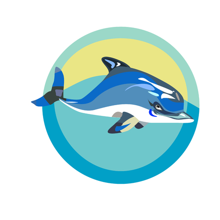 trait: a vector illustration of a marine logo with a swimming dolphin Illustration