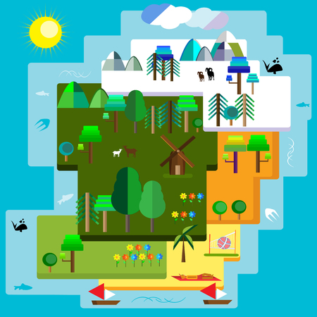 waterscapes: illustration of a flat designed seasonal land and waterscapes