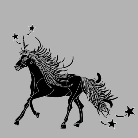 fictional character: Illustration of a monochrome, outlined unicorn
