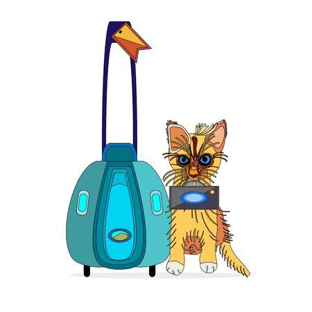 runaway: an outlined illustration of a ginger cat with photo camera and luggage