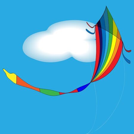 summery: vector illustration of rainbow colored kids toy - kite in the summery sky