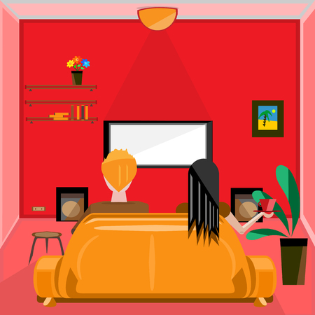 people watching tv: vector illustration of a pink living room, with sofa in the middle, with people watching TV