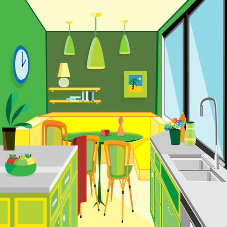 home addition: vector illustration of a green kitchen work space and equipment flat design