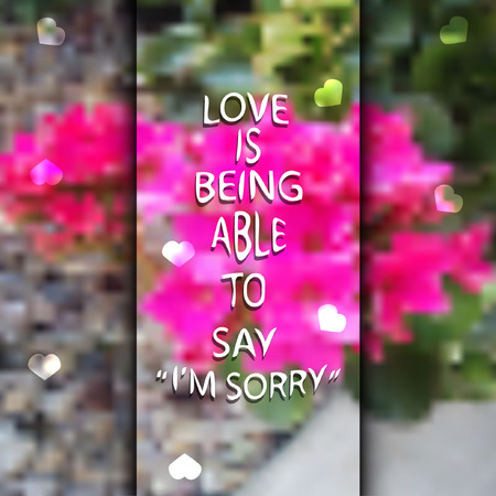 apology: vector illustration of blurred abstract pink flower with an apology sign with love in the middle Illustration