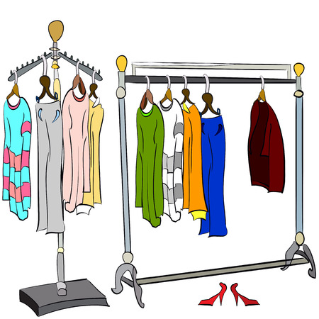 dry cleaner: vector illustration of two different, hand drawn clothes racks with t-shirts, sweaters, dresses, coat and trousers on it Illustration