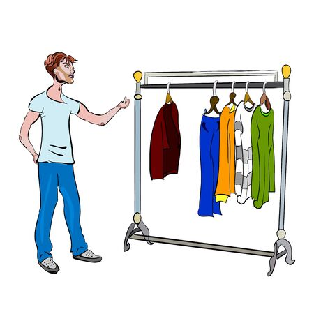 choosing clothes: isolated vector illustration of a young guy choosing the clothes from the rack