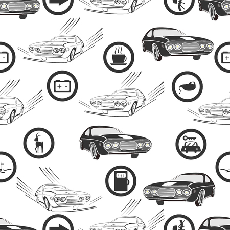 seatbelt: vector illustration of a seamless pattern of retro, monochrome cars and road , and service signs