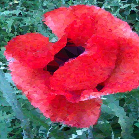 easier: vector illustration of triangulated poppy flower, grouped fror easier editing , background