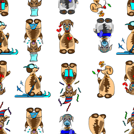 situations: vector illustration of a seamless pattern with funny dogs in different situations, grouped for easier editing, exellent for prints