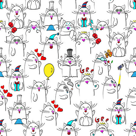 easier: vector illustration of a seamlless pattern with sixteen, grouped each by each one for easier editting, doodles of cats in emotions