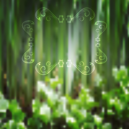 editing: vector illustration of  blossoming, water plants abstract background, with an ornate frame for editing your ideas Illustration