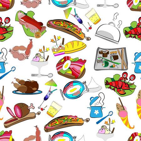 Met de hand getekende vector naadloze patroon van een set van restaurant eten, kruidenier wrapper