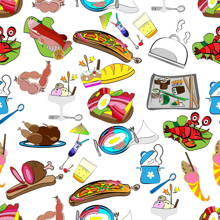 hand-drawn vector seamless pattern of a set of restaurant food, grocery wrapper Illustration