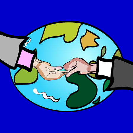 beg: vector illustration of a hand drawn hand shakes, fight, beg - on the front of the Earth