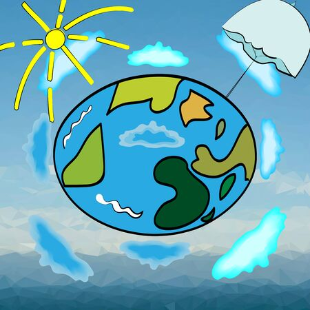 advert: vector illustration of a planet Earth, surrounded by clouds, sun and umbrella, cover for a weather advert