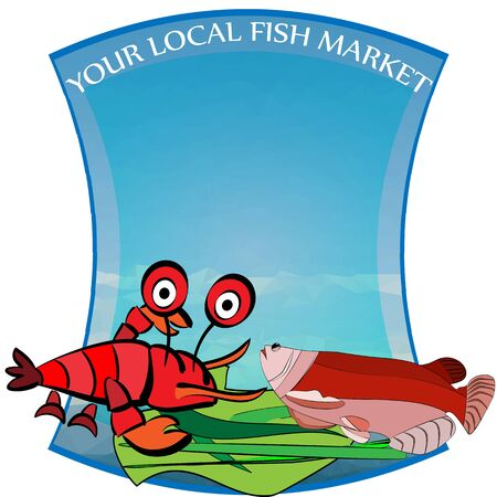 salmon fish: hand-drawn vector illustration of a seafood, fish market label