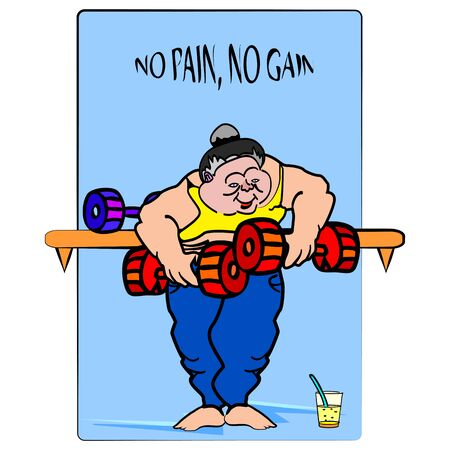 weight lifter: vector illustration of a big, funny lady , strong weight lifter in the gym , with no pain, no gain sign on the mirrow, that you easy can change for your own text Illustration