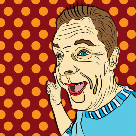 surprised man: vector illustration of a pop art, wow, surprised man on a red dotted background