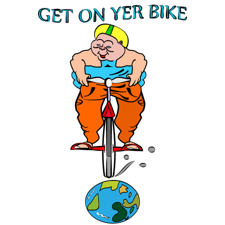 big woman: vector illustration of funny, big woman, cycling her bicycle on the globe with get on yer bike sign, that you easy can change for your own information Illustration