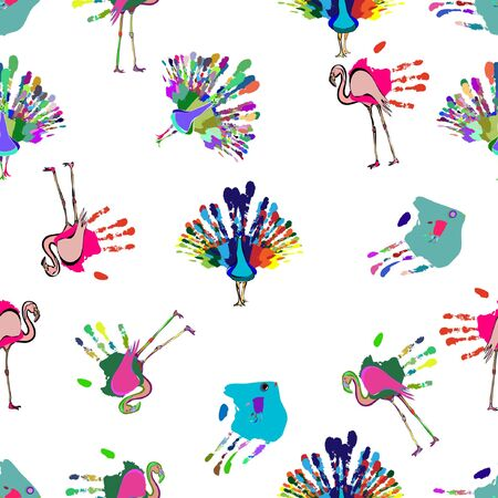 finger fish: vector illustration of the seamless pattern of a hand printed flamingo, peacock and fish background Illustration