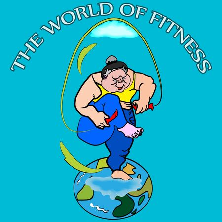 big woman: vector illustration of a funny big woman, jumping on globe, using skipping rope, with the world of fitness sign on the top, that easy to change for any of your own information Illustration