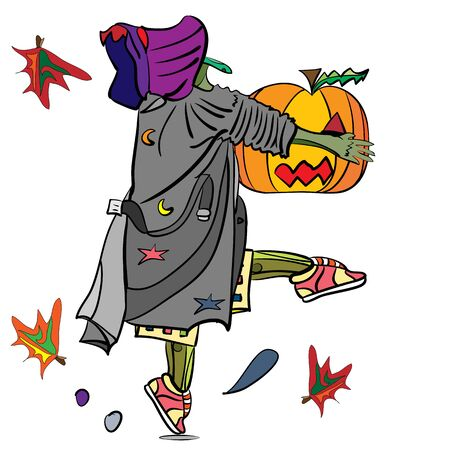 tiptoe: vector illustration of a funny witch, tiptoeing, stealing a pumpkin, magic, halloween design