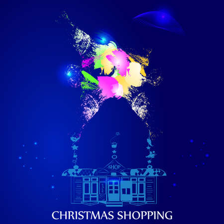 tentacle: vector illustration of an abstract, watercolored blurs patterns, sparkles, shop tentacle and christmas shopping sign