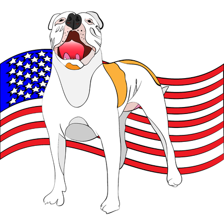 power giant: hand-drawn, outlined vector illustration of a giant american bulldog in front of a waving american flag