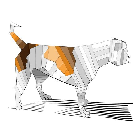 exciting: Vector illustration of an outlined, colored, exciting and looking away american bulldog Illustration