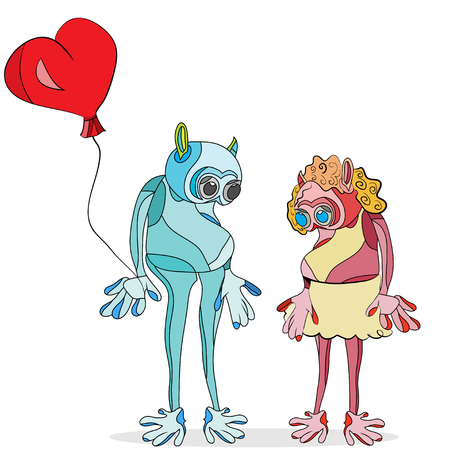 vector illustration of outlined, cartoon couple of aliens in love, with a heart shaped balloon in male hand