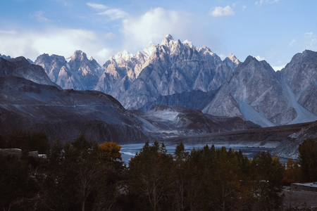 A view of Passu cones mountain peaks in the evening. Gilgit-Baltistan, Pakistan.