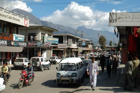 Gilgit, Pakistan. October 6, 2015 : People walking along the shopping street at a Market. Editorial