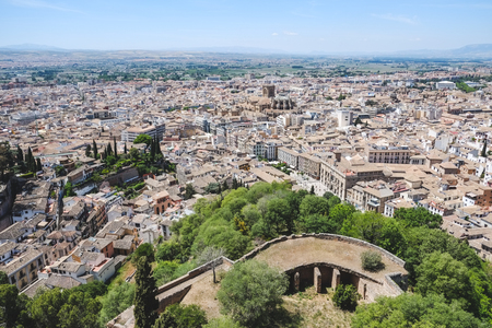 Landscape view of Granada from Alhambra palace, Spain.
