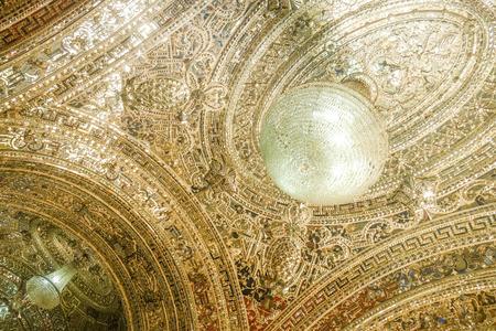 Tehran, Iran. October 23, 2016 : Ceiling mirror work at the entrance of Talar e Brelian (Brilliant Hall). Golestan palace.